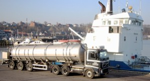 Lemvig harbour: Ship delivering organic waste to Lemvig Biogas