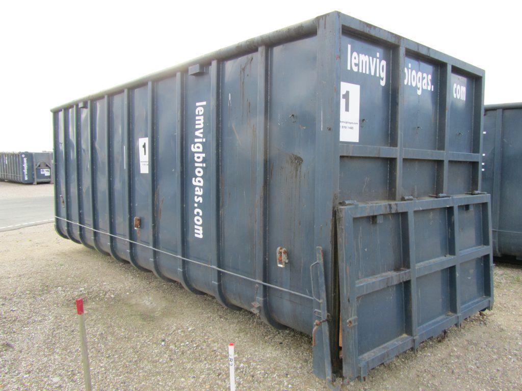 37 m3 container Vandtæt Lille 100 cm. høj bagtip som er tophængslet. L=676 cm., B=255 cm., H=261 cm. Vægt tom = 3.300 kg. nr. 1-11