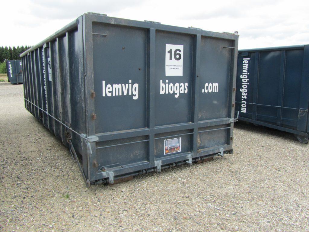 27 m3 container Vandtæt Stor tophængslet bagklap. L=660 cm., B=250 cm., H=200 cm. nr. 12-17