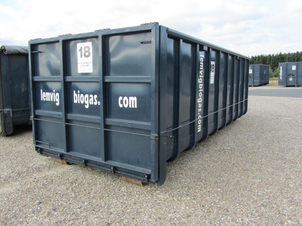 24 m3 container Vandtæt Stor tophængslet bagklap. L=582 cm., B=250 cm., H=200 cm. nr. 18-23