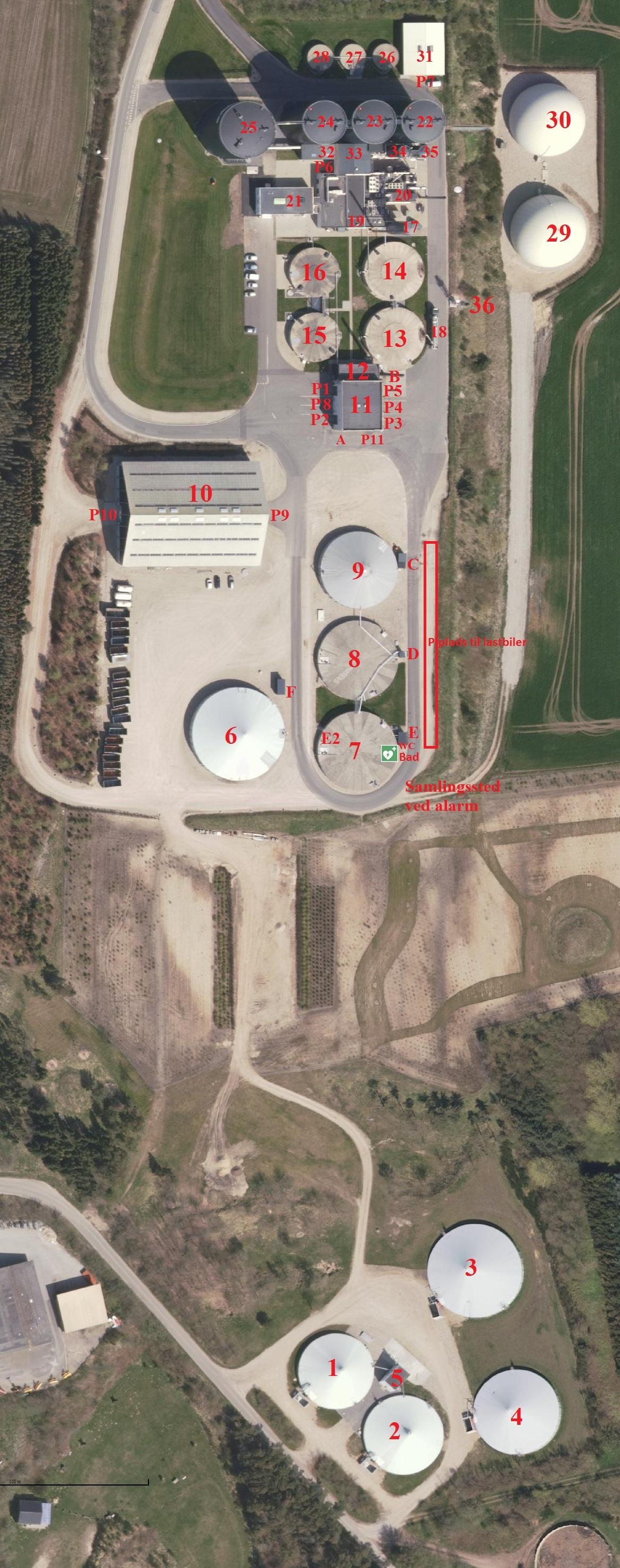 Lemvig Biogas situationsplan foto 2017 med henvisnings nr - P pladser og samlingssted