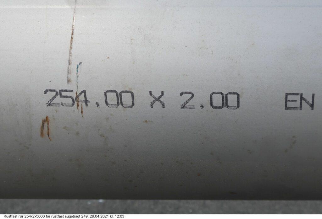 Rustfast rør 254x2x5000 for rustfast sugetragt